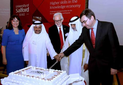 In the presence of H.H. Sheikh Nahyan Bin Mubarak Al Nahyan - The University of Salford launches plans to help drive Abu Dhabi 2030 Vision