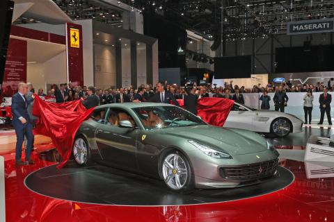 The Ferrari GTC4Lusso debut: a unique mix of benchmark sports car performance, all-weather versatility and sublime elegance.                           Also on the stand is the California T featuring the new Handling Speciale package