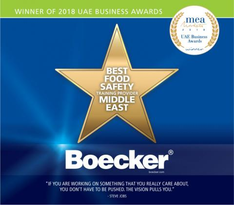 Boecker®: the winner of 2018 Best Food Safety Training Provider in the Middle East by MEA Markets