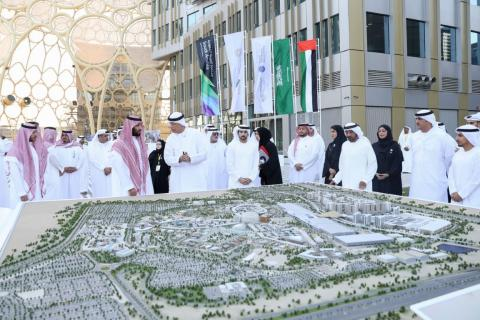 Hamdan bin Mohammed and Mohammed bin Salman visit headquarters of Expo 2020 Dubai